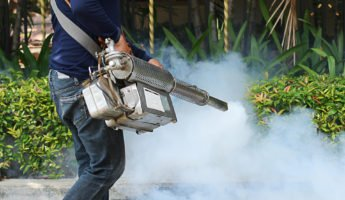 man using a commercial mosquito fogger