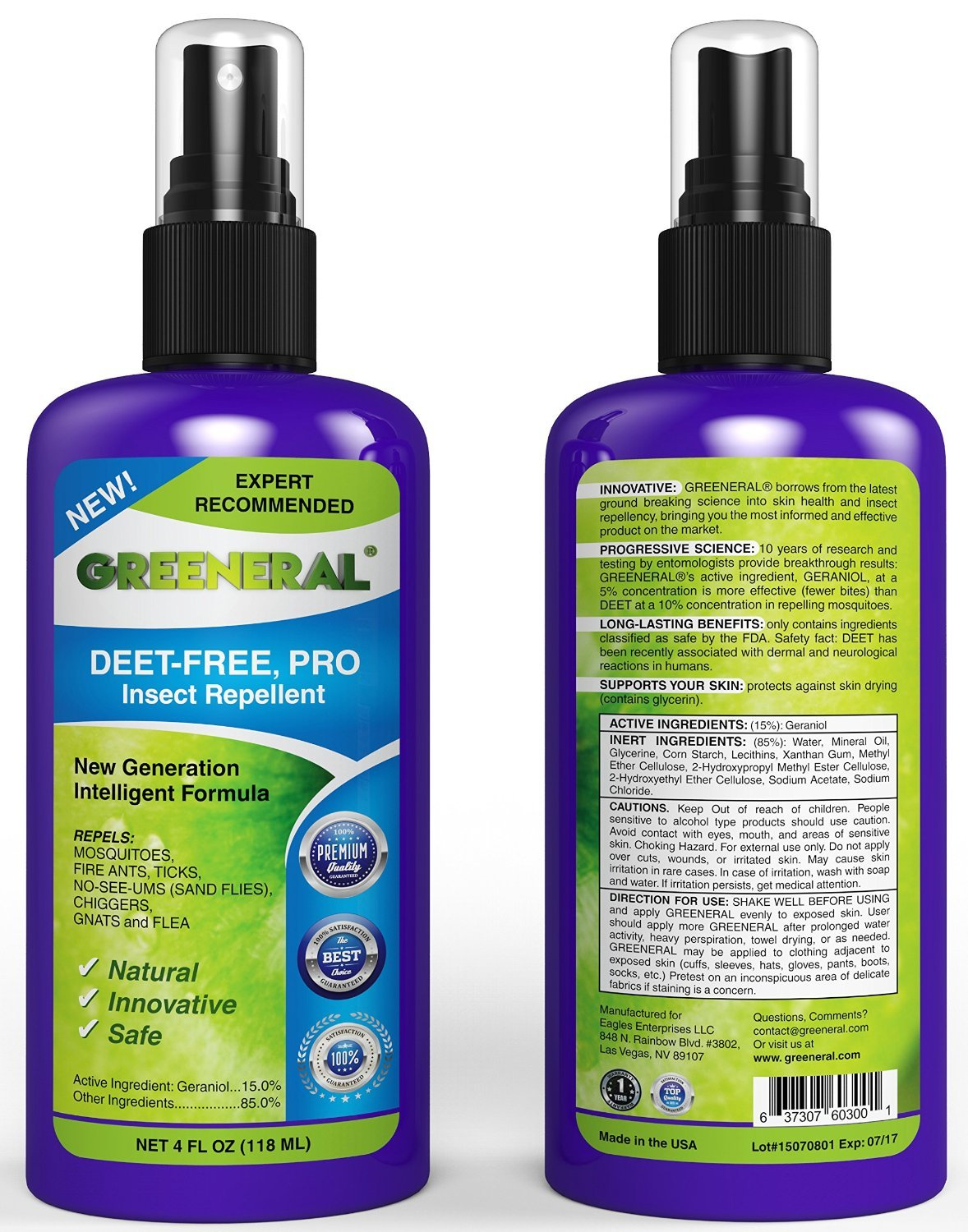 Greeneral PRO Natural Insect Repellent Spray