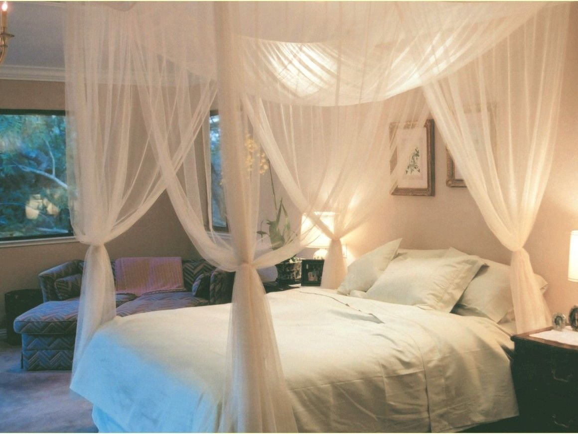 Canopy bed curtains bedroom on the ocean with white theme for Drape canopy over bed