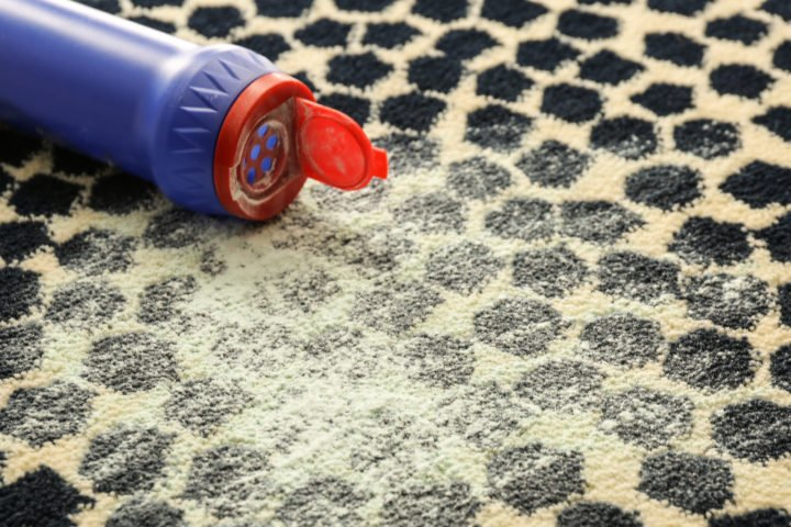 flea powder on a carpet