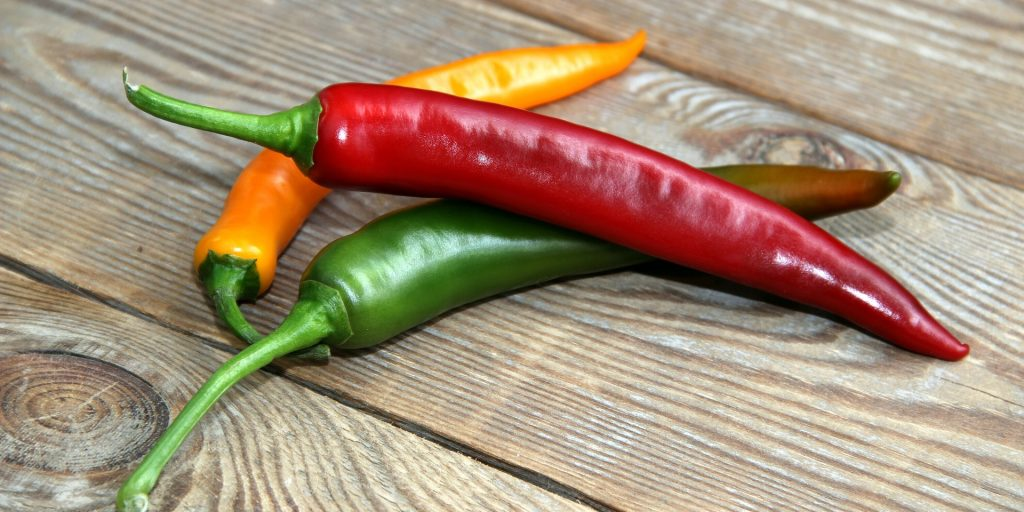 yellow, green and red chilli pepper